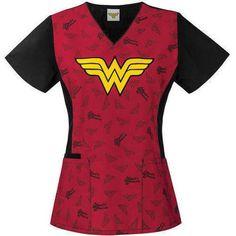 DC Comics Women's Fashion Collection Cotton Print V-Neck Scrub Top - Walmart.com