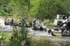 Daisy-chain of sidecars through a river in Baviaanskloof E.Cape-Cradock trip 15-21 Sept 2012