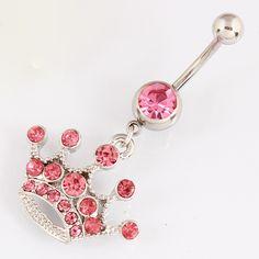 Rosa corona Imperial ombligo bar joyería piercing del cuerpo del anillo del botón de vientre de la señora Al Por Menor 14G 316L barra de acero quirúrgico de Níquel-libre