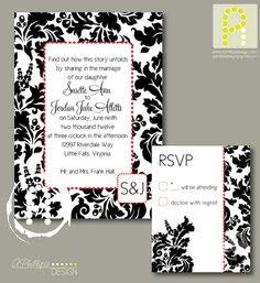 Red White & Black Damask Invitation Package by aphillipsdesign