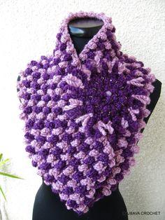 PDF Crochet Cowl Scarf With Flower Lavender Shadow Colors, Crochet Pattern Pdf Purple Cowl Scarf, Lyubava Crochet Pattern number 68, via Etsy.