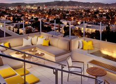 The Roof @ the Hotel Wilshire - fantastic rooftop bar and a killer view of the Hollywood Hills.