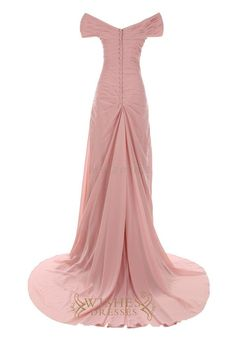 A-line formal chiffon sweep train mother of the bride dress with ruching and pick up details,while the front with flowers and button embellishment at the back.this elegant off the shoulder gown is als