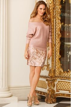 Boston Proper Rose-gold sequin skirt; then complete this look with a metallic, boxy sweater. A Rose is never called by any other name- strictly One-of-a-Kind.