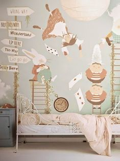 Alice in Wonderland child's bedroom with soft colors #kids bedrooms #whimsical decor