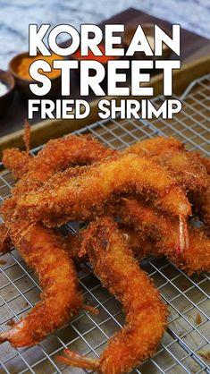 Korean Street Food is SO GOOD!!!  Fried Shrimp Recipe and Video!