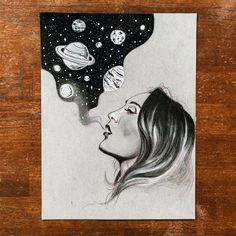 Galaxy Smoke Original Drawing