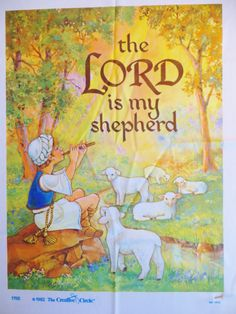 Vintage Embroidery Kit, The Lord Is My Shepherd, Shepherd and Sheep, Creative Circle 1755, Needlecraft Kit on Printed Fabric, Russell Bushee by CatBazaar on Etsy