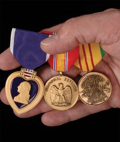 Purple Heart Medal, National Defense Medal and the Vietnam Service Medal   Medals of America