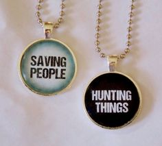 Saving People Hunting Things Necklace Set. The Family Business. Best Friends Necklace Set. Couples Necklace Set. 18 Inch Ball Chains. on Etsy, $24.00