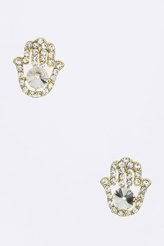 $10 JEWELRY SPECIAL :: Crystal Hamsa Hand Earrings (Gold Tone) - $10