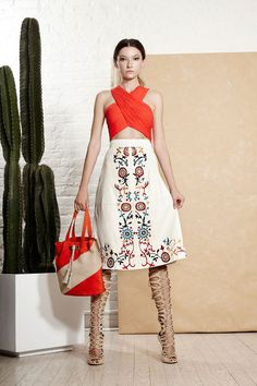 Alice + Olivia white skirt and orange top, at New York Spring 2016