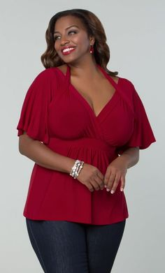 Curvalicious Clothes::Plus Size Tops::Starlet Flutter Sleeve Top - Deep Red