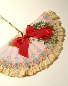 Victorian Fan Christmas Ornament Gift Tag by XmasMuse