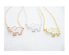 Gold, Rose Gold or Silver  elephant  necklace...dainty handmade necklace, everyday, simple, birthday by TiffanyAvenueBridal on Etsy https://www.etsy.com/uk/listing/472320662/gold-rose-gold-or-silver-elephant