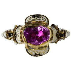Ring, ca. 1550 Place of origin: Europe (western, made) Materials and Techniques: Gold, enamel, pink sapphire Museum number: 4397-1857 V