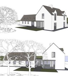 The extension and renovation of the Clients' family cottage in rural Cork. Modern Barn, Modern Farmhouse, House Designs Ireland, Cottage Extension, Great Buildings And Structures, Modern Buildings, Rural House, Cottage Renovation, Cottage Design