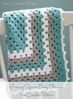 Sewing Baby Blanket Granny Square Baby Blanket Pattern - Free Crochet Pattern From Daisy Cottage Design - Learn how to make this classic crochet blanket pattern. This large granny square crochet pattern is perfect to make for any new mom - including you! Point Granny Au Crochet, Granny Square Crochet Pattern, Crochet Blanket Patterns, Baby Blanket Crochet, Crochet Blankets, Afghan Patterns, Crochet Afghans, Crochet Squares, Baby Afghans