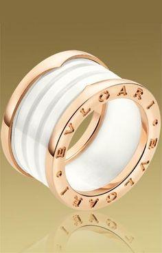 """pink"" gold with white ceramic Bulgari ring...divine..."