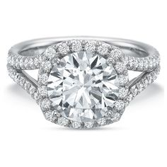 2.50ct EGL Round Diamond 18K Gold Pave Halo Engagement Ring F/VS1