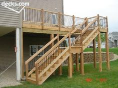 This is probably the closest to what we need - All For Garden Front Stairs, Deck Stairs, Deck Railings, Deck Building Plans, Deck Plans, Deck Design, House Design, Outside Steps, High Deck