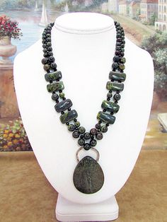 Dragon Blood Jasper Necklace - JP16 by daksdesigns on Etsy