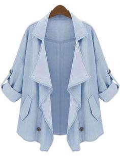 Blue Lapel Half Sleeve Asymmetrical Pockets Outerwear