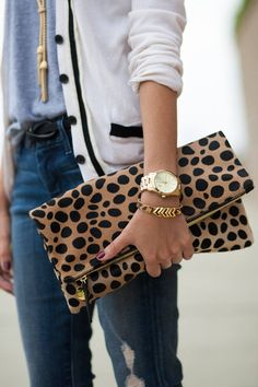 Clare Vivier Leopard Print Clutch (and the cardigan) Leopard Print Bag, Leopard Clutch, Leopard Print Outfits, Leopard Cardigan, Michael Kors Clutch, Fashion Bags, Fashion Accessories, Womens Fashion, Travel Fashion