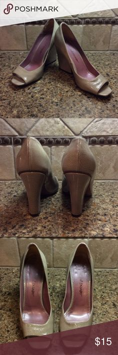 "👠 Beautiful Ladies Neutral Heels  👠 Gently used, peep toe, wide heeled pumps. Made in Italy with a 3 1/2"" heel.  Perfect with slacks or skirts. Jean Michel Cazabat Shoes Heels"