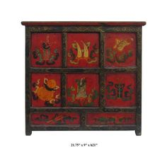 This Tibetan Altar Table Is Made Of Solid Elm Wood And Hand Painted With  Dragon, Monkey And Foo Dog Graphic. This Is Gorgeous Altar Table And Youu2026