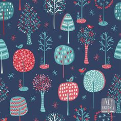 A turquoise + red forest pattern by Pattern Camper and Surface Pattern Designer Alison Brookes.