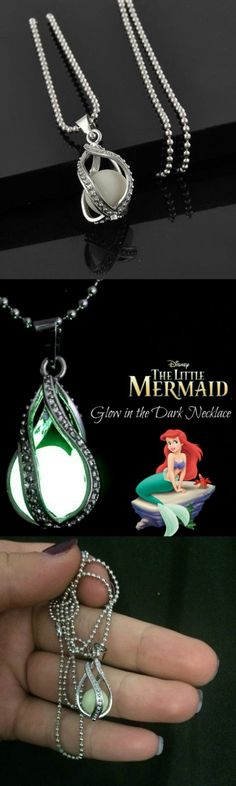 Little Mermaid Glow In The Dark Necklace! Would be so cute for coolwhip Disney Style, Disney Love, Disney Family, Cute Jewelry, Jewelry Accessories, Fashion Accessories, Disney Jewelry, Disney Outfits, Emo Outfits