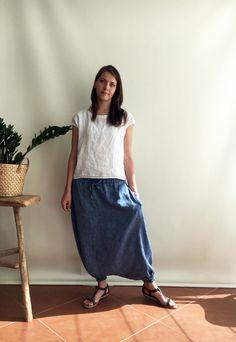 0764fd06d28 Klaar voor schip  Blue linnen Harem broek maat XS linnen Yoga Harem Pants