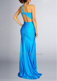 Blue One-shoulder Prom Dresses With Sequin
