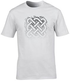 This white version of my celtic weave design looks great with jeans, especially under a leather jacket. Design © Edify Clothing #edifyclothing #graphictees #tshirts