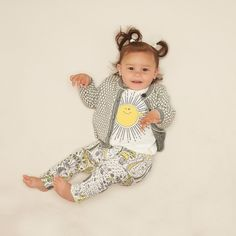 BRONSKI Organic Cotton Printed Unisex Baby Leggings - Yellow. British designed unisex baby and kids fashion clothing brand for stylish little ones. The bonnie mob ship worldwide from the UK.