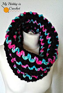 Worked with super bulky Red Heart Mixology yarns, the Neon Lights Cowl is a warm and comfy cowl that can be worn rolled over.