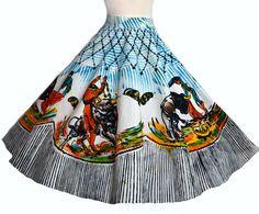 Vintage 50s Mexican Circle Skirt // 1950s Full Skirt Amazing Bullfighting images