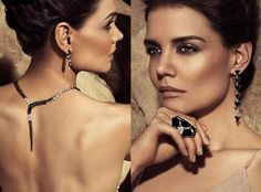 Katie Holmes, H Stern Ad, Her makeup is flawless, goldish smokey eyes with a nude lip and bronzed cheeks.