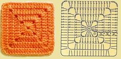 Hello friends, one of the things I like to do in the crochet world is the old and good squares, Granny Square Pattern Free, Granny Square Häkelanleitung, Granny Square Crochet Pattern, Tunisian Crochet, Crochet Chart, Crochet Squares, Crochet Granny, Crochet Motif, Diy Crochet