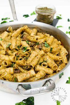 Sun-Dried Tomato, Miso, Basil Pasta w/Roasted Mushrooms (vegan, gluten-free) - Vegetarian Gastronomy