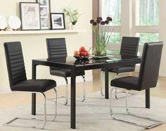 Jenson Modern Dining Set with Rectangular Black Glass Top Table