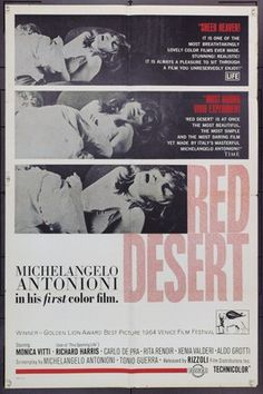 Original movie poster for DESERTO ROSSO, IL (1964) &2754 Rizooli Film U.S. One Sheet Poster 27 x 41 Folded. Very Fine. Offered by Kirby McDaniel MovieArt of Austin, Texas.