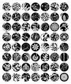 Whimsical Flowery Swirls (Black & White) - 1 Inch Circles - Full