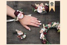 Pink Burgundy Wedding Floral Accessories Autumn Wedding Set   Etsy