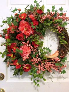 Grapevine wreath, Spring, Summer wreath, large wreath, luxury, elegant, Mother's Day, Easter, wedding, orange, peach, floral, berries, wispy