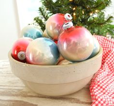 Vintage set of 12 glass ball ornaments by Shiny Brite