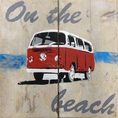 schilderij steigerhout volkswagen rood 40x40