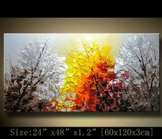 Original Palette Knife Abstract Painting,Modern Textured Painting,Landscape Painting by Chen Size: 24x48x1.2 [60x120x3cm] Stretched thickness: 1.2 (3cm ) Framed / Stretched ( Ready to hang! ) The sides are staple-free and are painted black. It is ready to hang .  Payment Details: we prefer paypal Do remember to leave your phone number in the note field  Shipment and Packing charge : By EMS to world-wide Parcel will be shipped out within 1-3 working days upon receipt of payment, via Inter...