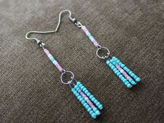 Boho Seed Beads Drop/Dangle American Native Fringe Tassel,Turquoise ,White ,Pink #Handmade #DropDangle